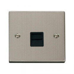 Click Deco Victorian Stainless Steel Secondary Telephone Socket with Black Inserts