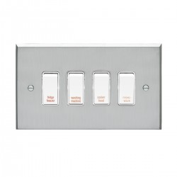 Eurolite Victorian Satin Chrome 1 Gang 20amp DP Engraved Appliance Switch with White Insert