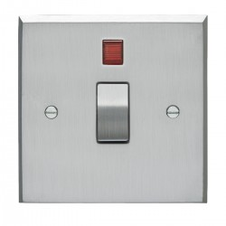 Eurolite Victorian Satin Chrome 1 Gang 20amp DP Switch and Neon with Matching Insert