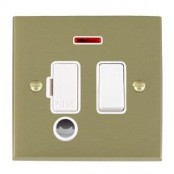 Hamilton Cheriton Victorian Satin Brass 1 Gang 13A Fused Spur, Double Pole + Neon + Cable Outlet with White Insert