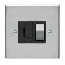Eurolite Victorian Satin Chrome 13amp Switched Fuse Spur with Matching Rocker and Black Insert