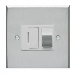 Eurolite Victorian Satin Chrome 13amp Switched Fuse Spur with Matching Rocker and White Insert