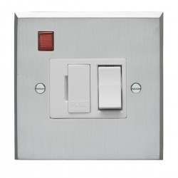 Eurolite Victorian Satin Chrome 13amp Switched Fuse Spur and Neon with White Insert