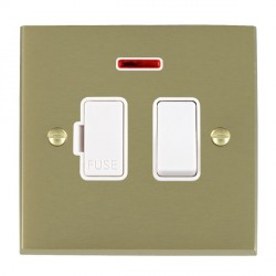 Hamilton Cheriton Victorian Satin Brass 1 Gang 13A Fused Spur, Double Pole + Neon with White Insert
