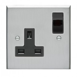 Eurolite Victorian Satin Chrome 1 Gang 13amp DP Switched Socket with Black Insert