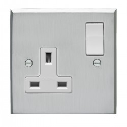 Eurolite Victorian Satin Chrome 1 Gang 13amp DP Switched Socket with White Insert