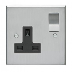 Eurolite Victorian Satin Chrome 1 Gang 13amp DP Switched Socket with Matching Rocker and Black Insert