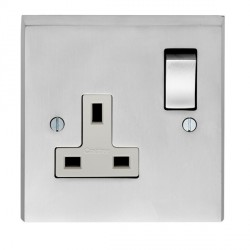 Eurolite Victorian Satin Chrome 1 Gang 13amp DP Switched Socket with Matching Rocker and White Insert