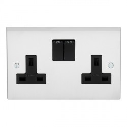 Eurolite Victorian Satin Chrome 2 Gang 13amp DP Switched Socket with Black Insert