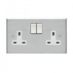 Eurolite Victorian Satin Chrome 2 Gang 13amp DP Switched Socket with White Insert