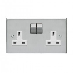 Eurolite Victorian Satin Chrome 2 Gang 13amp DP Switched Socket with Matching Rocker and White Insert