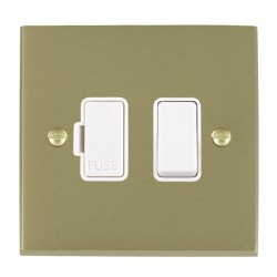 Hamilton Cheriton Victorian Satin Brass 1 Gang 13A Fused Spur, Double Pole with White Insert