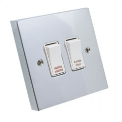 Eurolite Victorian Polished Chrome 2 Gang 20amp DP Engraved Appliance Switch with White Insert