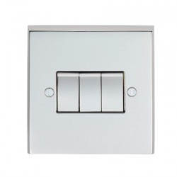 Eurolite Victorian Polished Chrome 3 Gang 10amp 2way Switch with Matching Insert