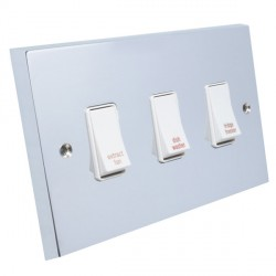 Eurolite Victorian Polished Chrome 3 Gang 20amp DP Engraved Appliance Switch with White Insert