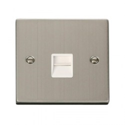 Click Deco Victorian Stainless Steel Secondary Telephone Socket with White Inserts
