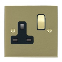 Hamilton Cheriton Victorian Satin Brass 1 Gang 13A Switched Socket - Double Pole with Black Insert