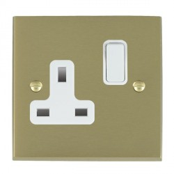 Hamilton Cheriton Victorian Satin Brass 1 Gang 13A Switched Socket - Double Pole with White Insert