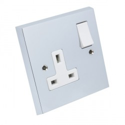 Eurolite Victorian Polished Chrome 1 Gang 13amp DP Switched Socket with White Insert