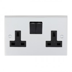 Eurolite Victorian Polished Chrome 2 Gang 13amp DP Switched Socket with Black Insert