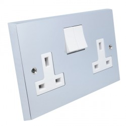 Eurolite Victorian Polished Chrome 2 Gang 13amp DP Switched Socket with White Insert
