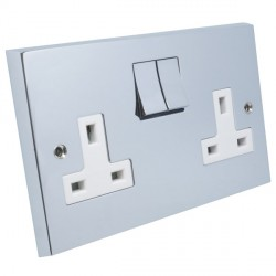 Eurolite Victorian Polished Chrome 2 Gang 13amp DP Switched Socket with Matching Rocker and White Insert