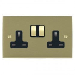 Hamilton Cheriton Victorian Satin Brass 2 Gang 13A Switched Socket - Double Pole with Black Insert