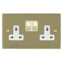 Hamilton Cheriton Victorian Satin Brass 2 Gang 13A Switched Socket - Double Pole with White Insert