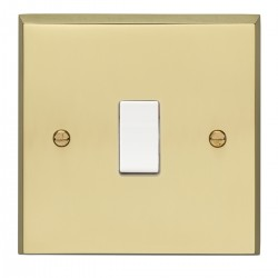 Eurolite Victorian Polished Brass 1 Gang 10amp 2way Switch with White Insert