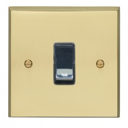 Eurolite Victorian Polished Brass 1 Gang 20amp DP Engraved Appliance Switch with Black Insert