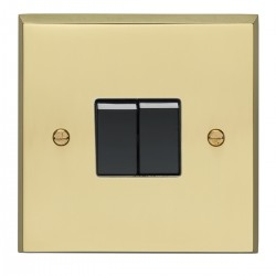 Eurolite Victorian Polished Brass 2 Gang 10amp 2way Switch with Black Insert