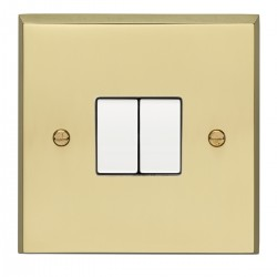 Eurolite Victorian Polished Brass 2 Gang 10amp 2way Switch with White Insert