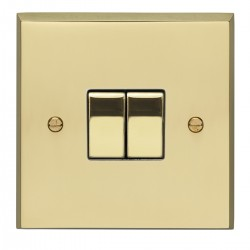 Eurolite Victorian Polished Brass 2 Gang 10amp 2way Switch with Matching Insert