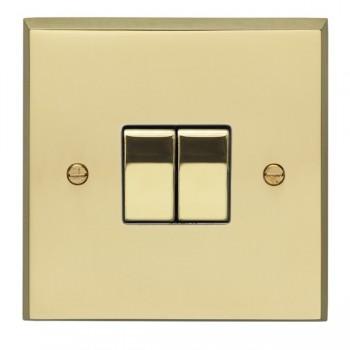 Eurolite Victorian Polished Brass 2 Gang 10amp 2way Switch with Matching Insert