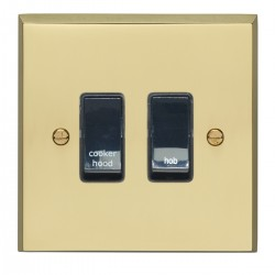 Eurolite Victorian Polished Brass 2 Gang 20amp DP Engraved Appliance Switch with Black Insert
