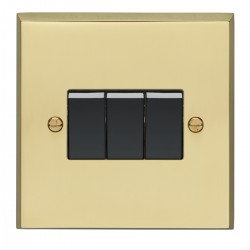 Eurolite Victorian Polished Brass 3 Gang 10amp 2way Switch with Black Insert