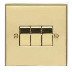 Eurolite Victorian Polished Brass 3 Gang 10amp 2way Switch with Matching Insert