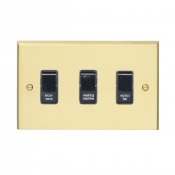 Eurolite Victorian Polished Brass 3 Gang 20amp DP Engraved Appliance Switch with Black Insert
