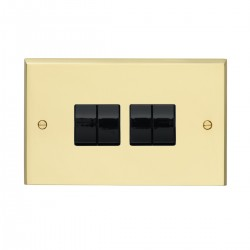 Eurolite Victorian Polished Brass 4 Gang 10amp 2way Switch with Black Insert