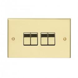 Eurolite Victorian Polished Brass 4 Gang 10amp 2way Switch with Matching Insert
