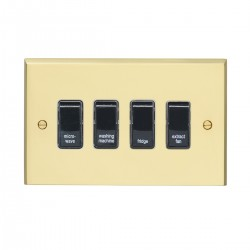 Eurolite Victorian Polished Brass 4 Gang 20amp DP Engraved Appliance Switch with Black Insert