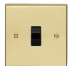 Eurolite Victorian Polished Brass 1 Gang Intermediate Switch with Black Insert
