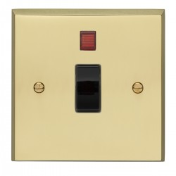 Eurolite Victorian Polished Brass 1 Gang 20amp DP Switch and Neon with Black Insert