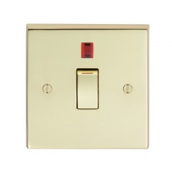 Eurolite Victorian Polished Brass 1 Gang 20amp DP Switch and Neon with Matching Insert
