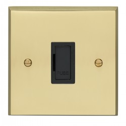 Eurolite Victorian Polished Brass 13amp Unswitched Fuse Spur with Black Insert