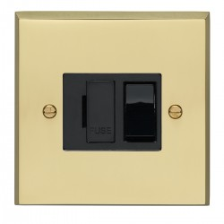 Eurolite Victorian Polished Brass 13amp Switched Fuse Spur with Black Insert