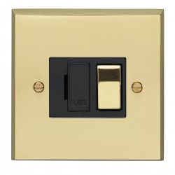 Eurolite Victorian Polished Brass 13amp Switched Fuse Spur with Matching Rocker and Black Insert