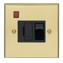 Eurolite Victorian Polished Brass 13amp Switched Fuse Spur and Neon with Black Insert