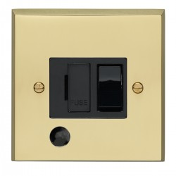 Eurolite Victorian Polished Brass 13amp Switched Fuse Spur Flex Outlet with Black Insert