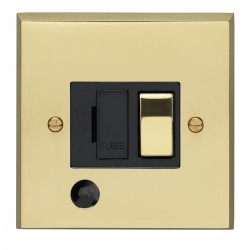 Eurolite Victorian Polished Brass 13amp Switched Fuse Spur Flex Outlet with Matching Rocker and Black Ins...